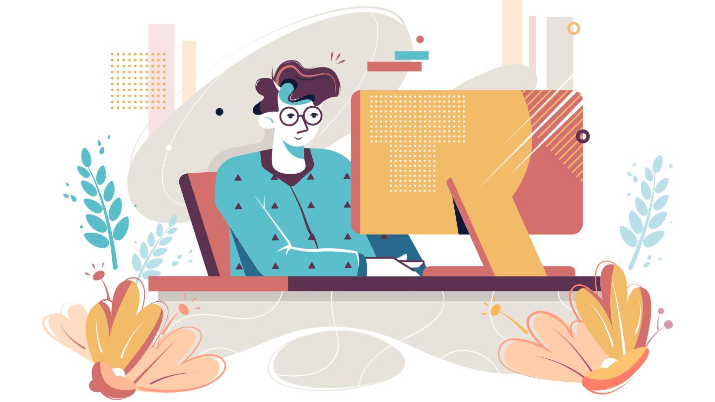webデザインをしている男性