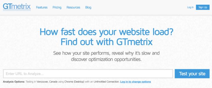 GTmetrixのトップページ