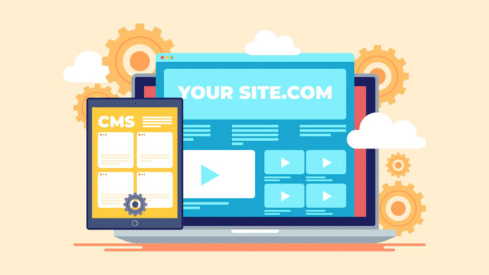 cmsと.comと表示されたパソコン画面